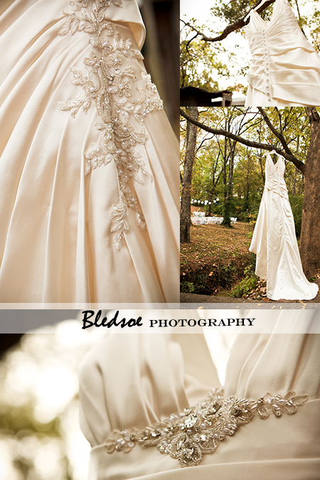 """Wedding gown hanging in a tree"""