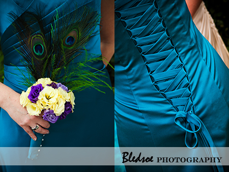 """Teal bridesmaid dress with corset back and peacock feather bouquet."""