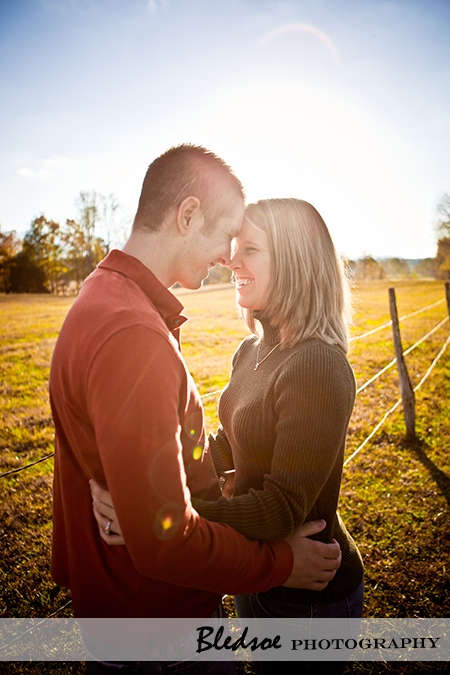 """Engagement photos at sunset in Cades Cove"""