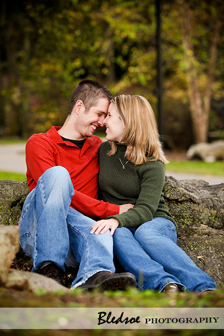 """Engaged couple getting cozy at Campbell Station Park in Knoxville"""