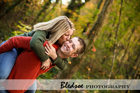 """Engaged couple - Piggyback ride"""