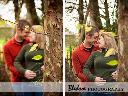 """Engagement photos in the trees of Campbell Station Park"""