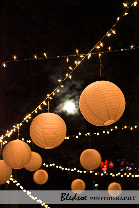"""Full moon among hanging chinese lanterns"""