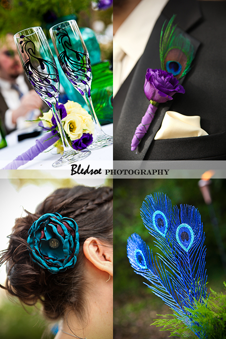 """Wedding details: Peacock champagne flutes, peacock boutonniere, peacock centerpiece"""