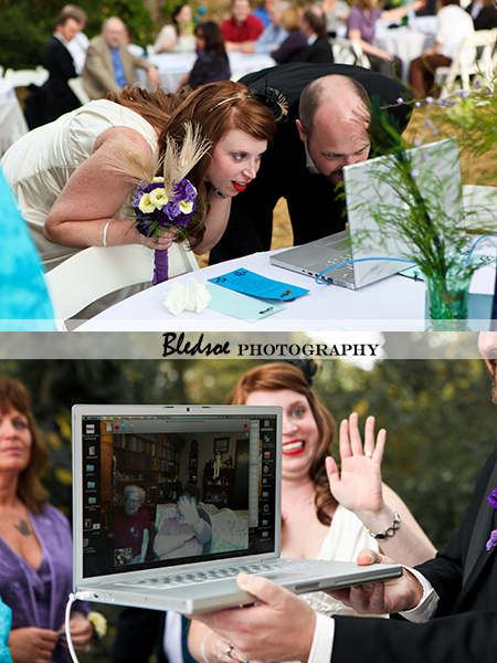 """Bride and groom using Skype during their wedding"""