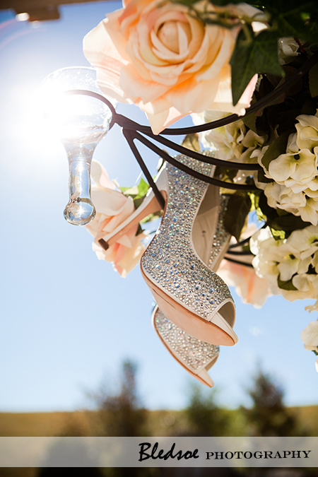 benjamin adams wedding shoes on a chandelier