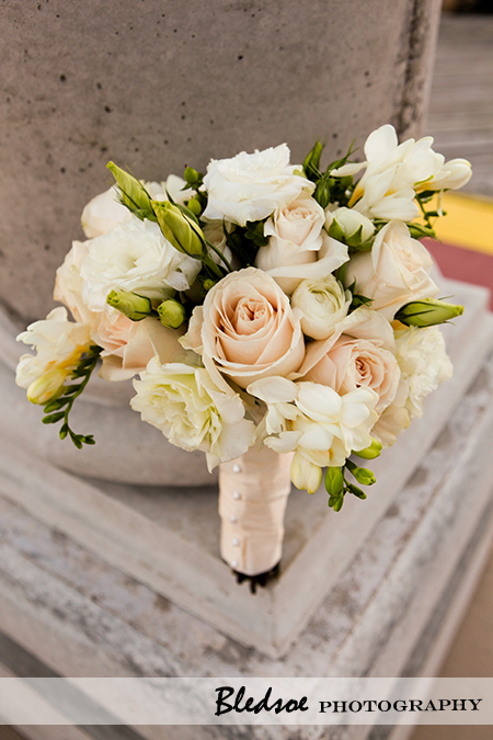 beige and white bridal bouquet