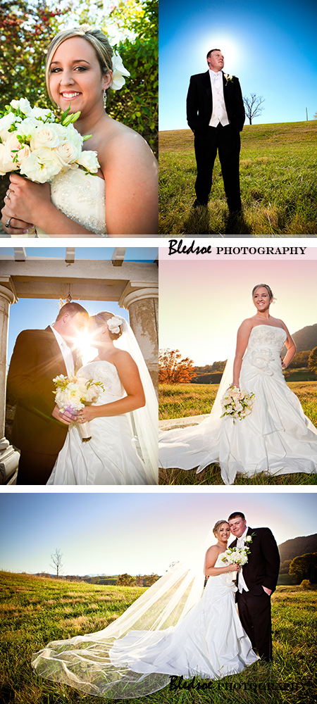 Bride and groom at sunset at The Stables in LaFollette, TN.