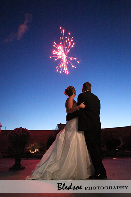 Fireworks at wedding reception.