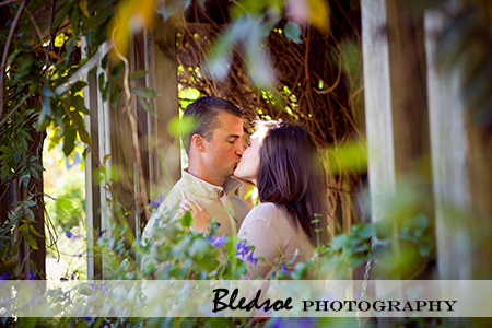 """Amy and Scott kiss under the arbor at UT Gardens"""