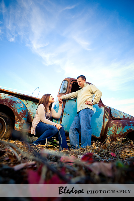 """Amy and Scott with the vintage truck at UT Gardens"""