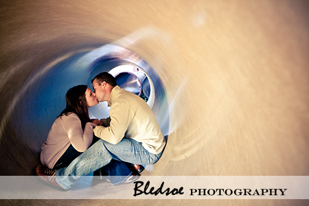 """Amy and Scott inside a drainpipe at UT Gardens"""