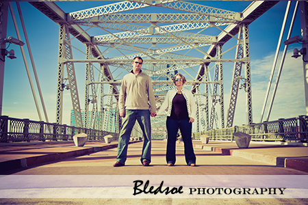 """Holding hands on the Shelby Street Bridge in Nashville"""