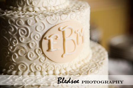 """Monogram on wedding cake"""