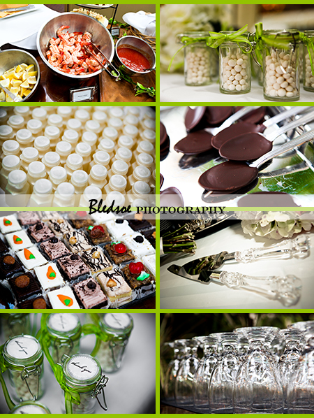 """Collage of reception food, favors"""