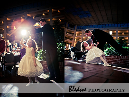 """Flower girl dancing at reception"""