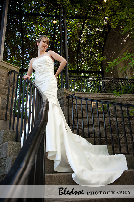 """Bride on staircase at Cheekwood Botanical Gardens"""