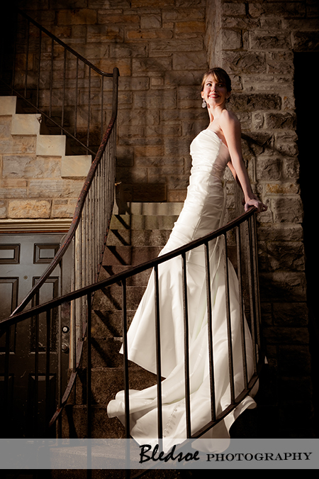 """Bride on stone staircase at Cheekwood Botanical Gardens"""